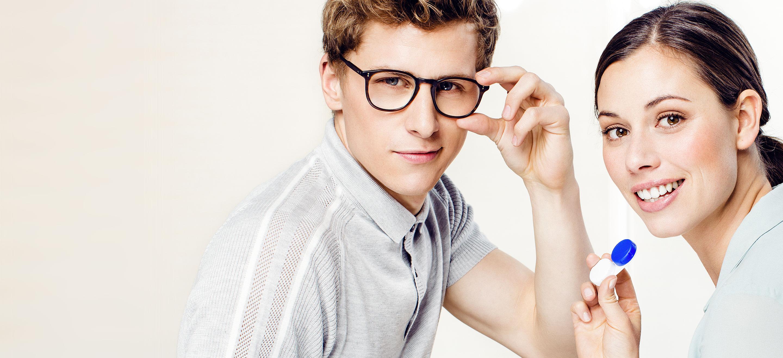 Brille oder Linse